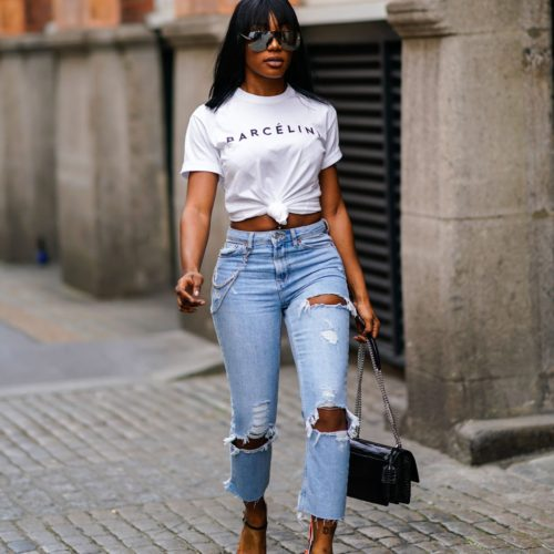 Укороченные футболки с узлом для женщин