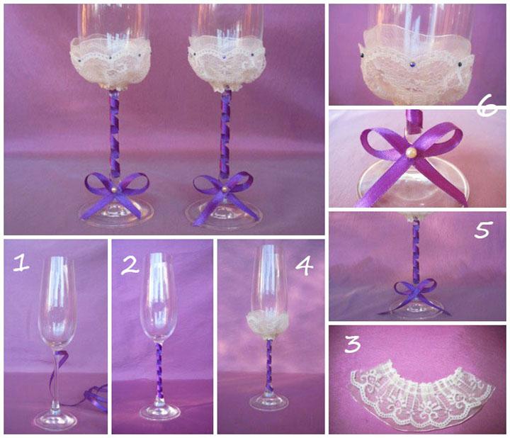 Украшение свадебных бокалов кружевом